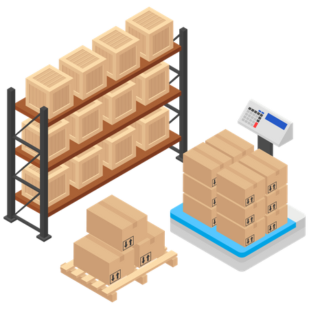 Weighting Shipping Boxes Illustration