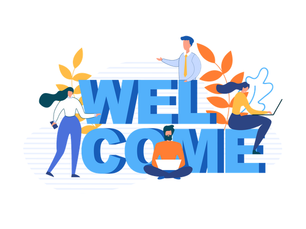 Welcome typography with business people characters Illustration