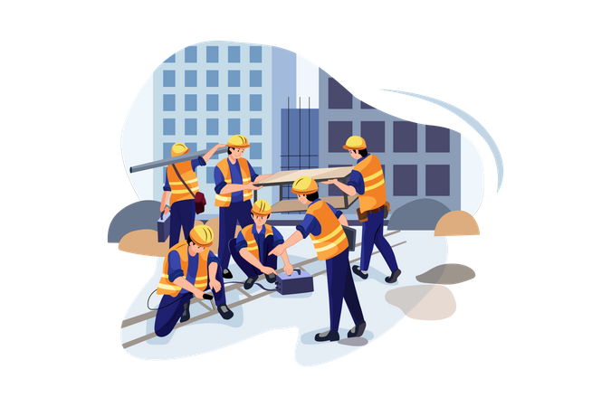 Welding workers working at construction site Illustration