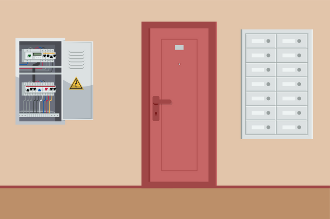 Well-equipped Residential building bright corridor Illustration