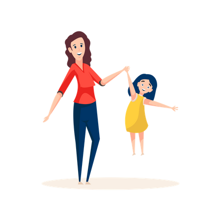 Well-known babysitter standing with little girl Illustration