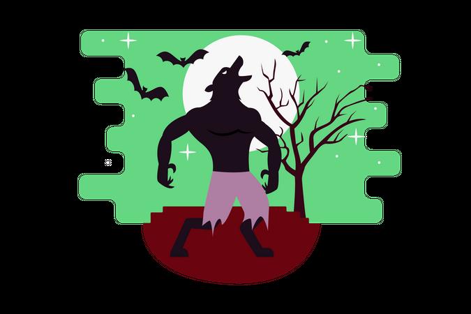 Werewolf walking in full moon Illustration