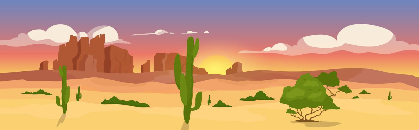 Western dry desert Illustration