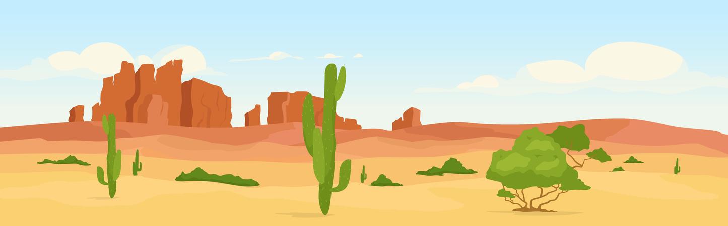 Western dry desert at day time Illustration