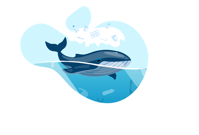Whale in ocean with plastic waste Illustration