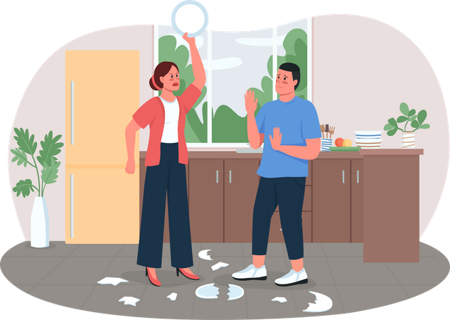 Wife angry with husband Illustration