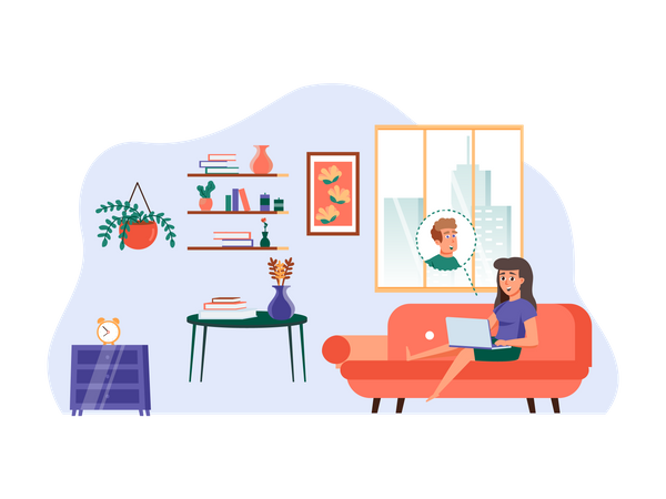 Wife talking to husband through video call Illustration
