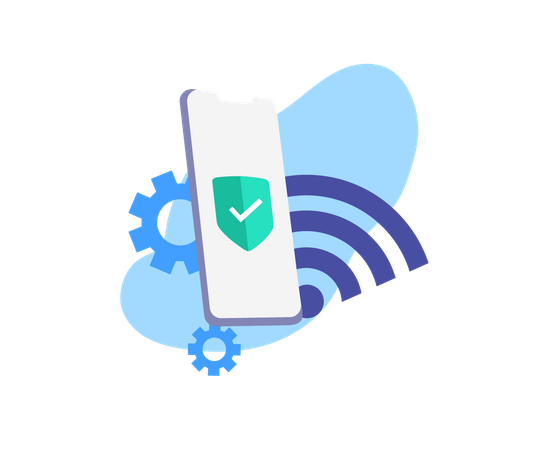 Wifi broadcast and data generation for web landing page Illustration