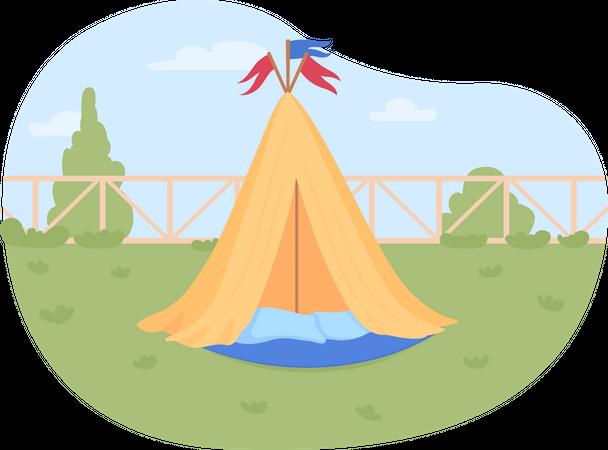 Wigwam for kids in backyard Illustration