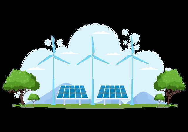 Wind and solar Energy Illustration