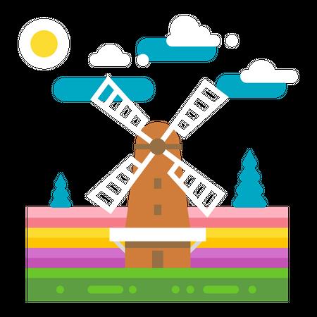 Wind Mill Illustration