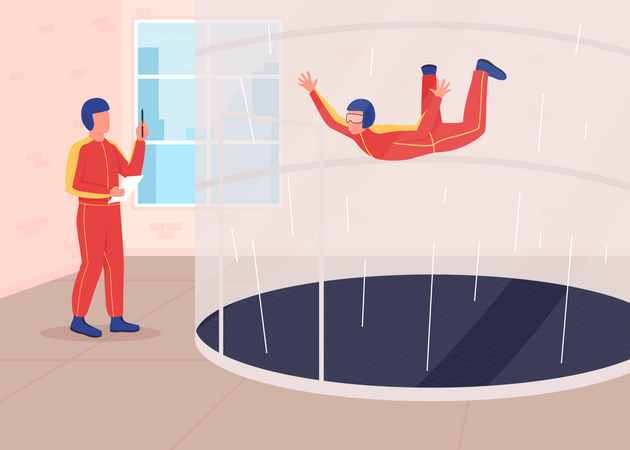 Wind tunnel training Illustration