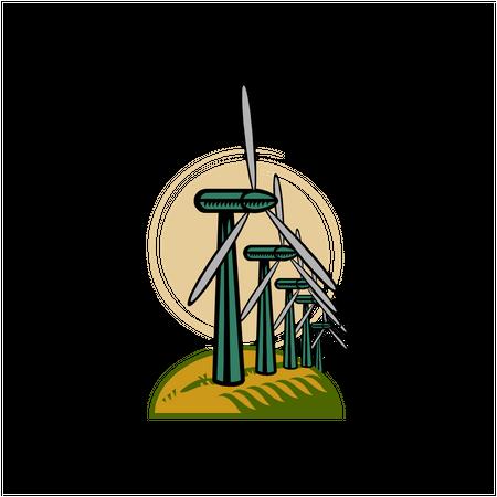 Wind turbines on round hill Illustration