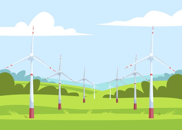 Windmills in field scenery Illustration
