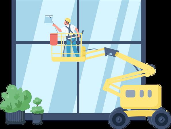 Window cleaner Illustration