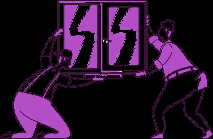 Window installation Illustration
