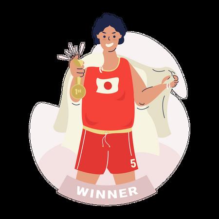 Winner gets a gold medal Illustration
