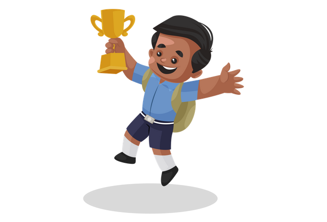 Winner with trophy Illustration