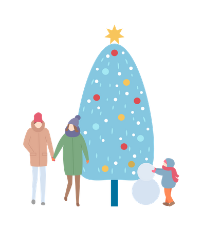 Winter Family with Tree and Snowman Illustration