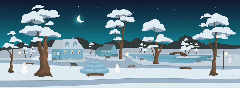 Winter park at night Illustration