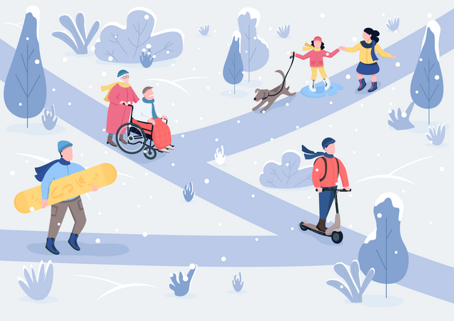 Winter parkland Illustration