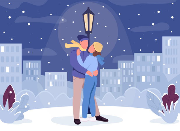 Winter romantic evening Illustration