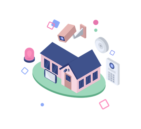 Wireless home protection Illustration