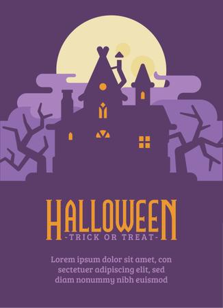 Witch Hut Halloween Flyer Illustration