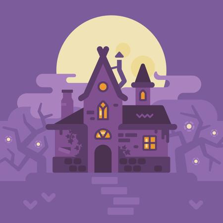 Witch Hut Halloween Scene Illustration