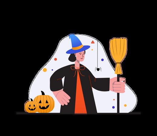 Witch preparing for dark magic Illustration