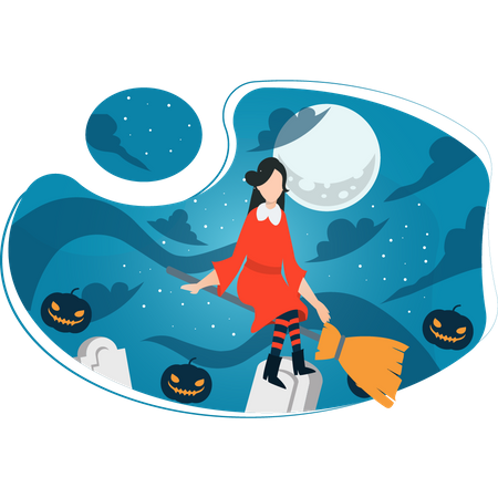 Witch riding broomstick Illustration