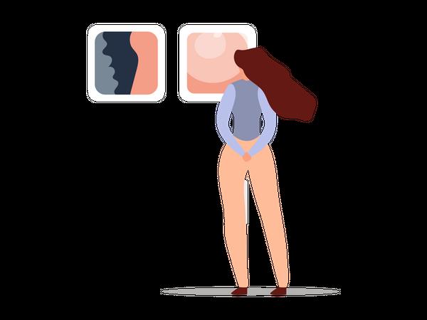 Woman admiring artwork Illustration
