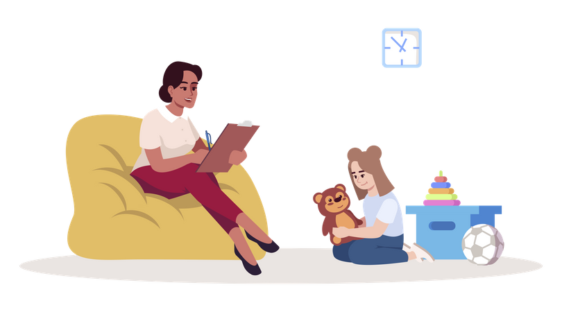 Woman analyzing and writing behavior of small girl Illustration