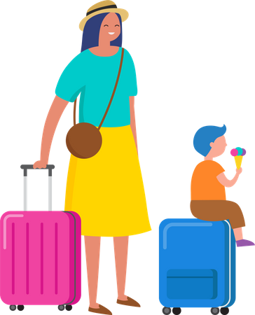 Woman and her kid going on vacation Illustration