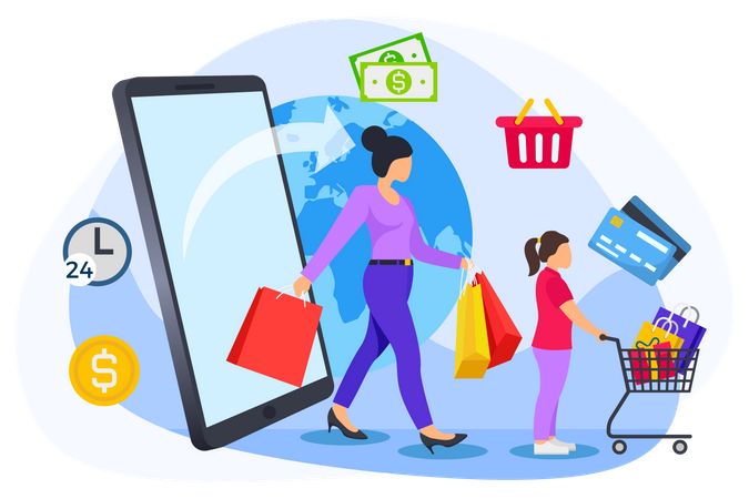 Woman and little girl doing online shopping Illustration