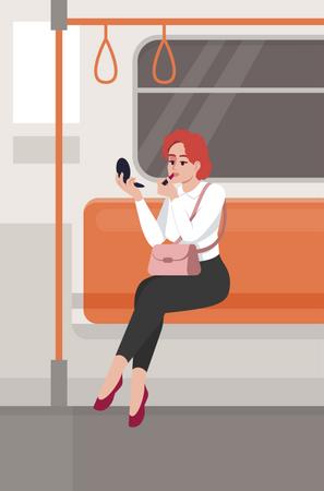 Woman applying lipstick in train Illustration