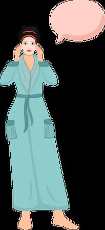 Woman applying skincare cream Illustration
