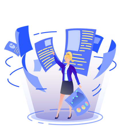 Woman arranging files and analytics in the office Illustration