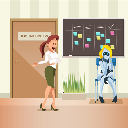 Woman Ask Female Robot to join Office Job Interview Illustration