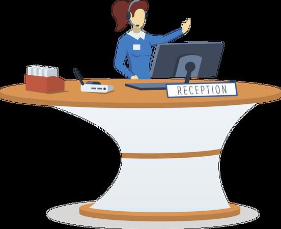 Woman at reception desk Illustration