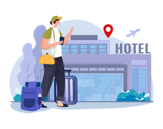 Woman booking hotel online Illustration