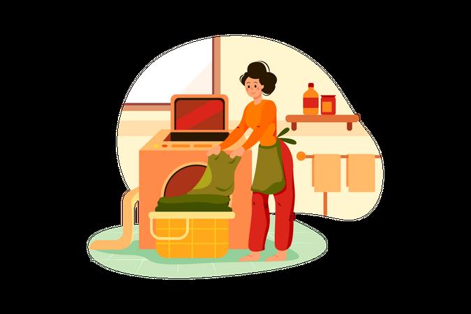 Woman bringing clothes in washing machine Illustration