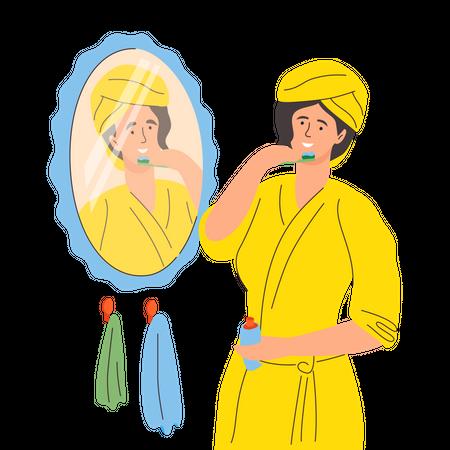 Woman brushing her teeth Illustration