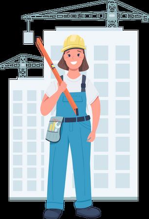 Woman builder Illustration