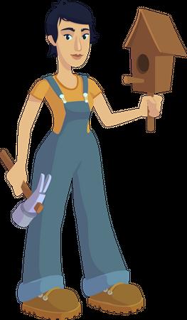 Woman building birdhouse Illustration
