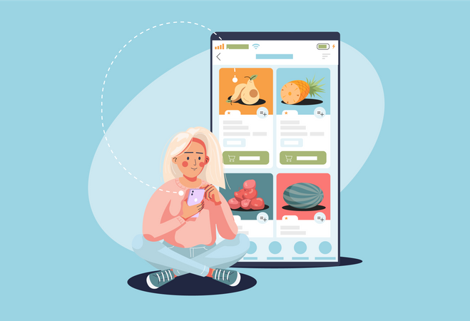 Woman buying groceries using application Illustration