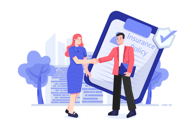 Woman buying insurance policy Illustration