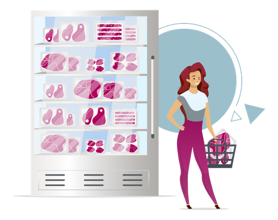 Woman buying meat Illustration