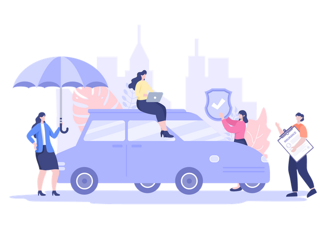 Woman buying online car Insurance Illustration
