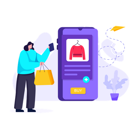 Woman buying purse from online shopping app Illustration